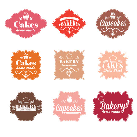 bakery products: Collection of vintage retro bakery labels