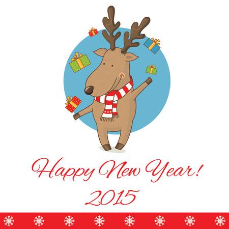 directing: Illustration greeting card with cartoon deer.Vector Illustration