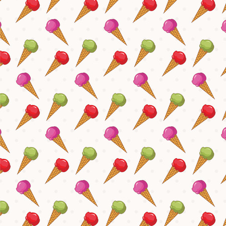 Seamless pattern of ice cream .Vector. Vector