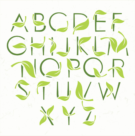 vines: Vector green eco alphabet Illustration