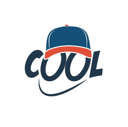 bijschrift: Bijschrift COOL met baseball cap Stock Illustratie