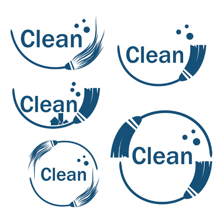 whisk broom: set of cleaning icons with mop Illustration