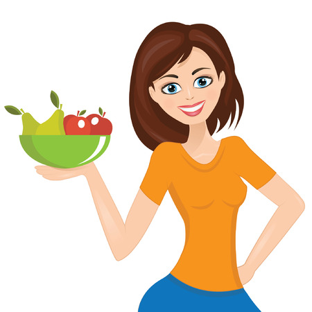 fruit plate: Smiling woman presenting, plate with fruit Illustration