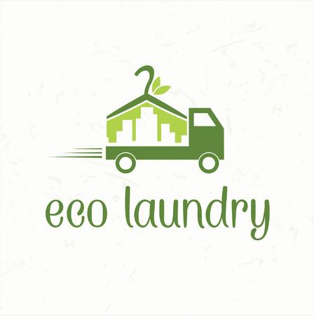 laundry hanger: Icono abstracto del coche con la entrega de la ropa ecol�gica Vectores