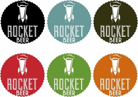 Rocket  Beer Vintage Style Stamp