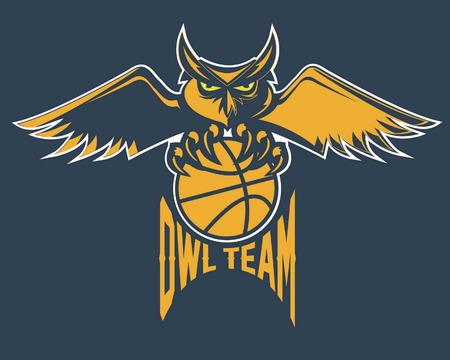 basketball ball: sport basketball emblem owl team