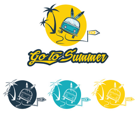 illustration and stickers go to summer  Vector