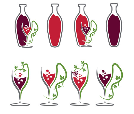 set of wine bottles and wineglasses Vector