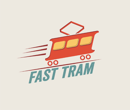 fast train: vintage illustration fast tram Illustration