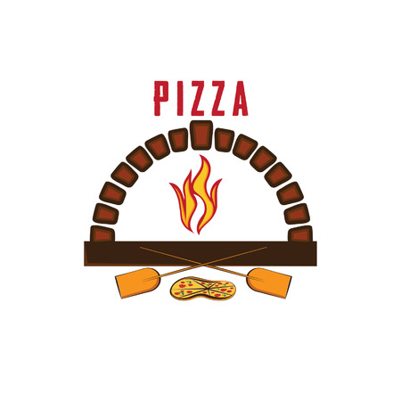 illustration of oven with pizza Vector