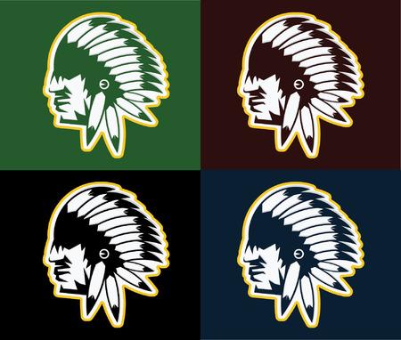 redskin: Native American chief man in tribal headdress
