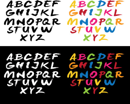 font with brush stroke Vector