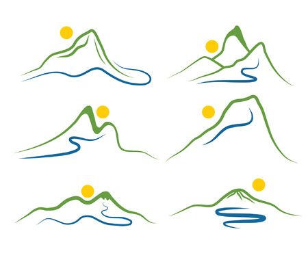 set of mountains and sun Vector
