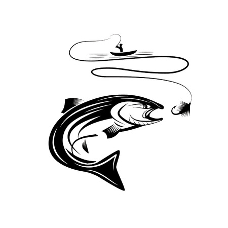 illustration of fisherman in a boat and salmon