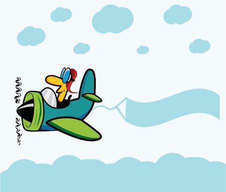 avion caricatura: Plano de la historieta con el piloto, nubes y banner publicitario Vectores