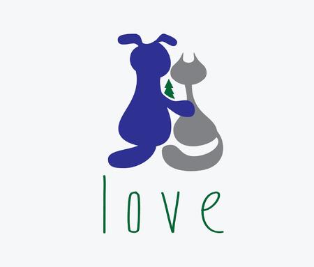 wścieklizna: przytulanie psa kota z miłości Ilustracja
