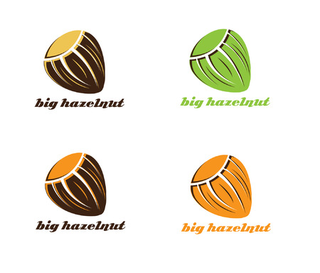 nutty: illustration of big hazelnut Illustration