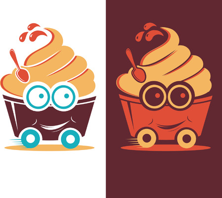 soft cream: illustration smiling frozen yogurt on wheels
