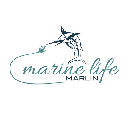 illustration marine life with marlin Vector