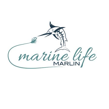 illustration marine life with marlin Vector