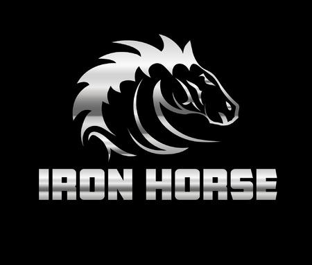iron horse: head of agreesive iron horse Illustration