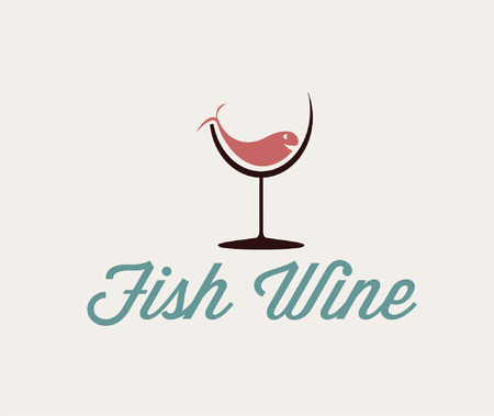 illustration of fish in wineglass