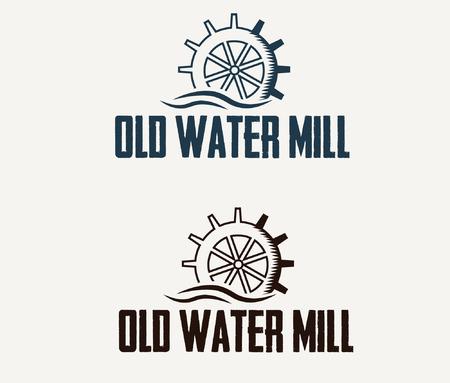 illustration old water mill Vettoriali