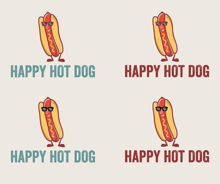 Hot Dog Cartoon Character Wearing Sunglasses Vector