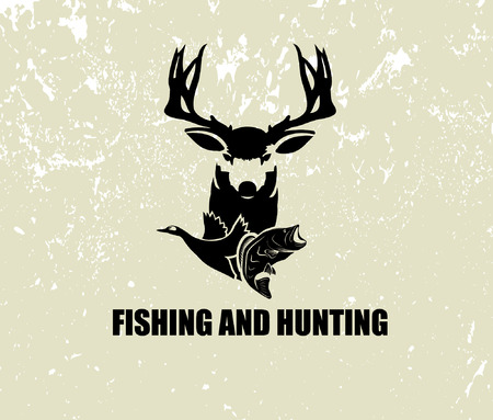 釣りや狩猟の図  イラスト・ベクター素材