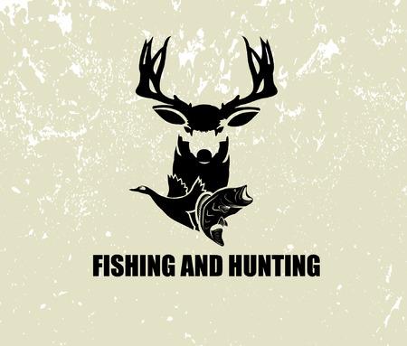 vissen en jagen illustratie Vector Illustratie