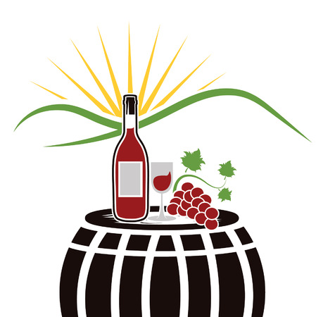 tun: vector illustration of wine bottle,wineglass and grape on the background of mountains and sun