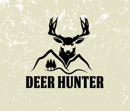 deer head and mountains on grunge background 向量圖像