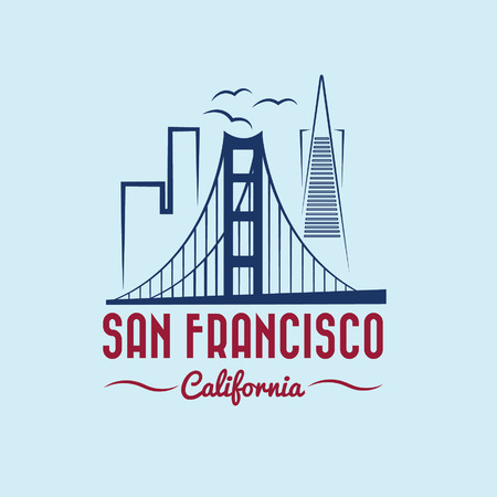 san francisco bay: san francisco skyline illustration