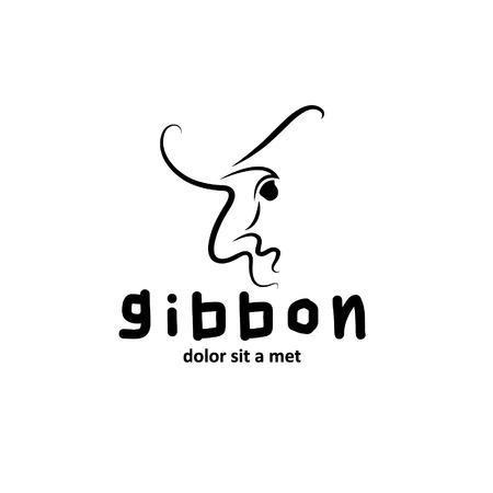 gibbon outline illustration Vector