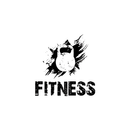 tokens: grunge kettlebell vector design template