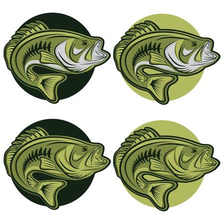 set of labels wit large moutn bass Illustration