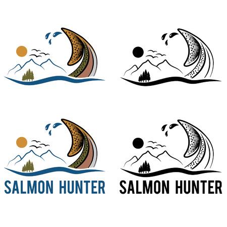 coho: tail of salmon on the background of landscape Illustration