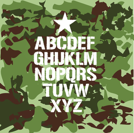 Military alphabet on a camouflage background, vector illustration Vector