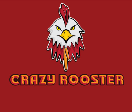 cock: head of crazy rooster Illustration