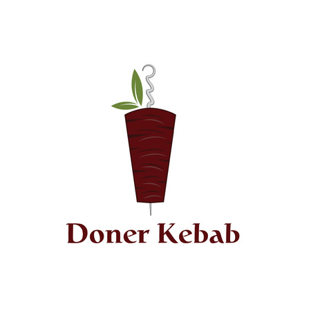 Vector illustration of doner kebab with leaves Vector