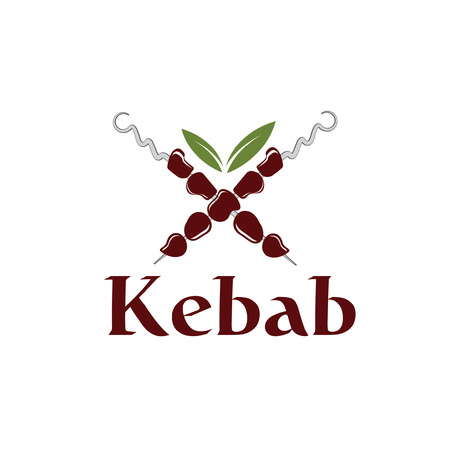 Vector illustration of kebab with leaves Vector