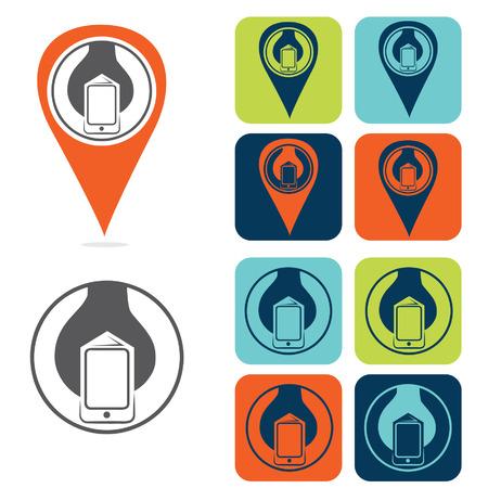 geolocation: mobile development icon set flat design