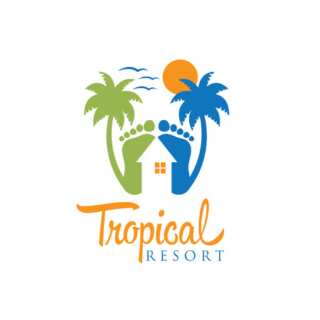 footprints in sand: tropical resort vector design template