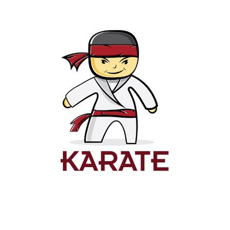 cartoon karate boy Vector