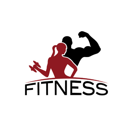 man en vrouw van fitness silhouet karakter vector design template Stock Illustratie