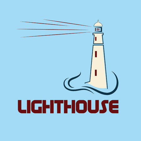 waterside: Lighthouse on abstract sea background