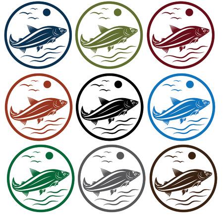 largemouth: set of emblems with white fish Illustration