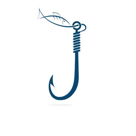 fishing hook and fish Иллюстрация