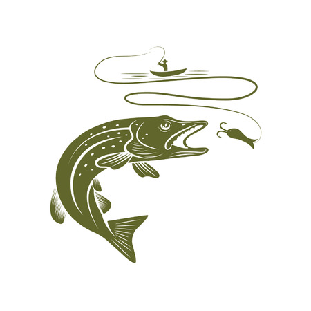 illustration of fisherman in a boat and pike
