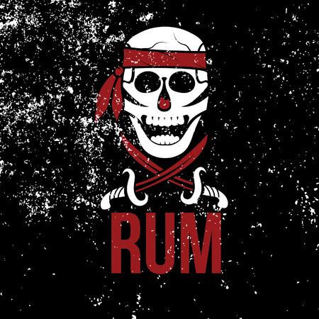 jolly roger rum on grunge background Vector